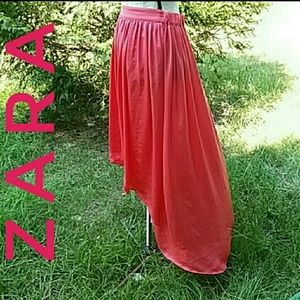 Zara Basic Coral High Low Flowing Skirt Size M